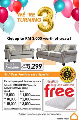 Ashley Furniture HomeStore Malaysia 3rd Year Anniversary Sale